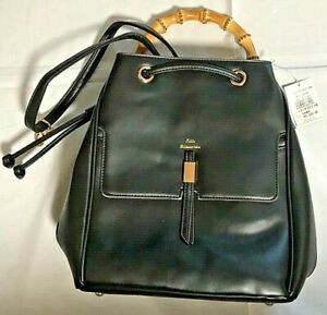 Woman-Fashionable-Lookin-Bamboo-Handle-Backpack-Bag-black-Synthetic-leather-NEW
