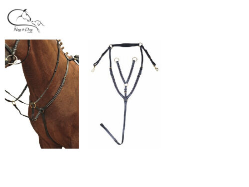 HKM Leather Breastplate With Running Martingale Attachment All Sizes Black//Brown
