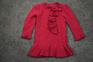 676b2fa28796 BABY Gap Red Sweater Dress Ruffle Bow Holiday Christmas Excellent 2 ...