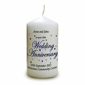 Image Is Loading Personalised 50th Wedding Anniversary Gift Cellini Candles 1
