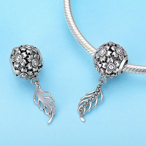 Fleurs bloosm creux S925 Argent Zircon Cubique European Charm Bead avec feuille Fit Bracelet
