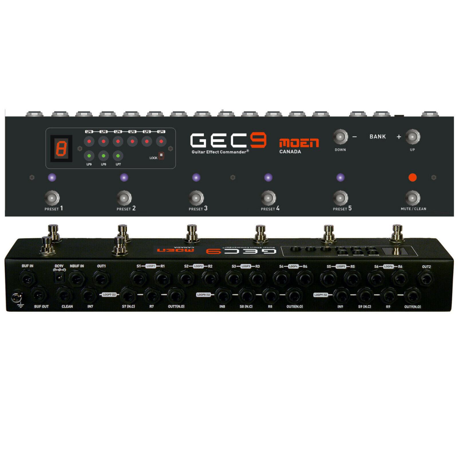 MOEN GEC9 V2 Guitar Pedal FX Switcher 9 Loop Foot Controller Routing System + DC