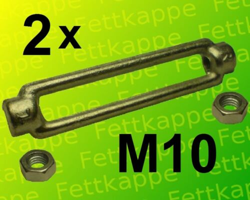 rechts 2 x Spannschloß  M10 kpl verzinkt mit  Kontermuttern links