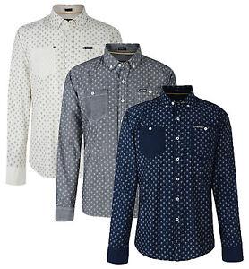 Firetrap-Manica-Lunga-Camicie-Nuovo-Aderente-da-Uomo-Retro-con-Motivo-Stampa