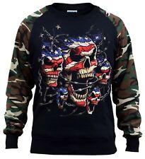 Men/'s Patriotic American Skulls Camo//Black Raglan Hoodie Halloween Biker USA US