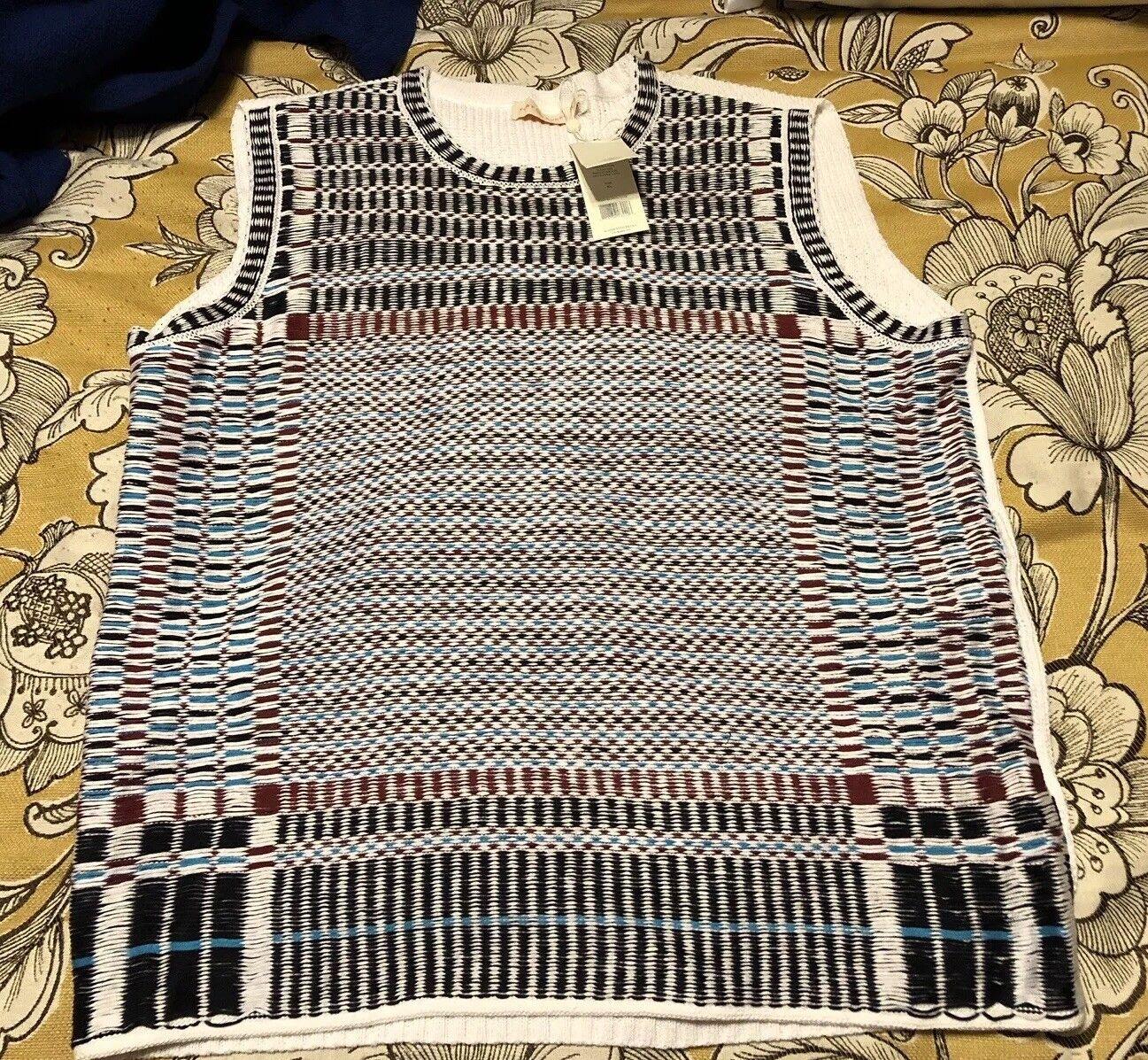Tory Burch Sz XL Basket Weave Jacquard Floating Sleeveless Sweater