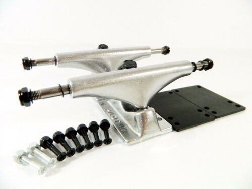 Pilot 5.25 Skateboard Trucks Polished w// Free Hardware Riser Pads
