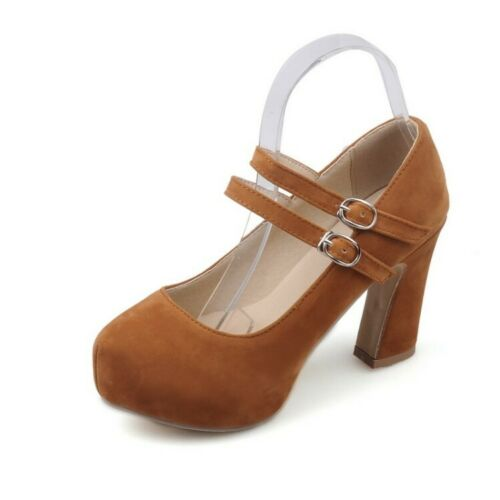 2019 Elegant Womens Ankle Strap Mary Jane Chunky High Heels Dress Shoes All Size