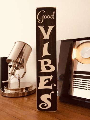 Good Vibes Sign Music Wood Vintage Retro Style Party BBQ Pub Birthday Kitchen