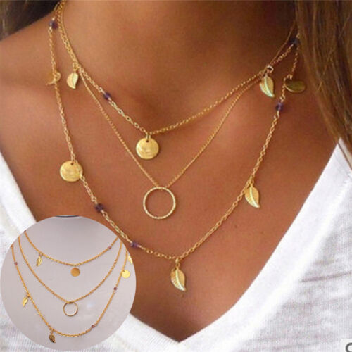 Bohemia Blatt Kristall Halskette Multi Layer Halskette weiblichen Anhänger L2