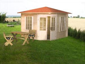 Details Zu Gartenhaus Modell 3055 40 300x300cm Funfeck 40mm Stark Grosse Fenster