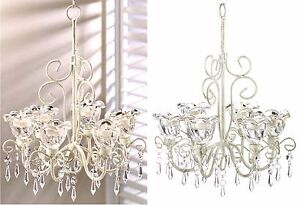 CRYSTAL BLOOMS 6 CANDLE HOLDER CHANDELIER & CHAIN ** NIB