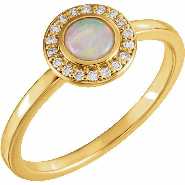 Genuine Australian Opal & Diamonds Halo Style Ring 14K Yellow White or pink gold