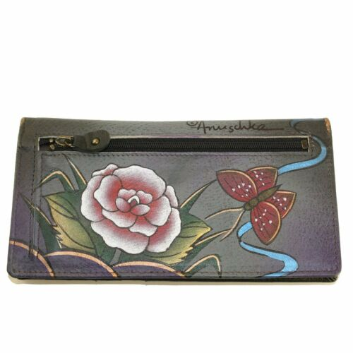 Anuschka Hand Painted Genuine Leather Slim Bi Fold Wallet Antique Rose Pewter