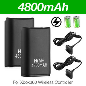 2-Pack-Battery-amp-Charger-Cable-for-Microsoft-Xbox-360-Wireless-Controller-Black