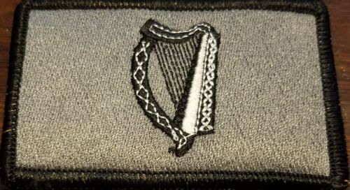 Irish Ireland Harp Flag Patch W// VELCRO® Brand Fastener Gray /& Black  Border