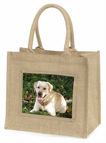 Yellow Labrador Dog Large Natural Jute Shopping Bag Christmas Gift Id, ADL48BLN