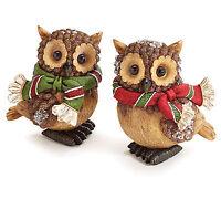 New Set of 2 Pinecone Owl Figurines Christmas Winter Decor burton+BURTON