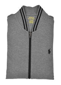 100% True Ralph Lauren Polo Grau Baumwolle Interlock Trainingsjacke Neu Be Shrewd In Money Matters Men's Clothing