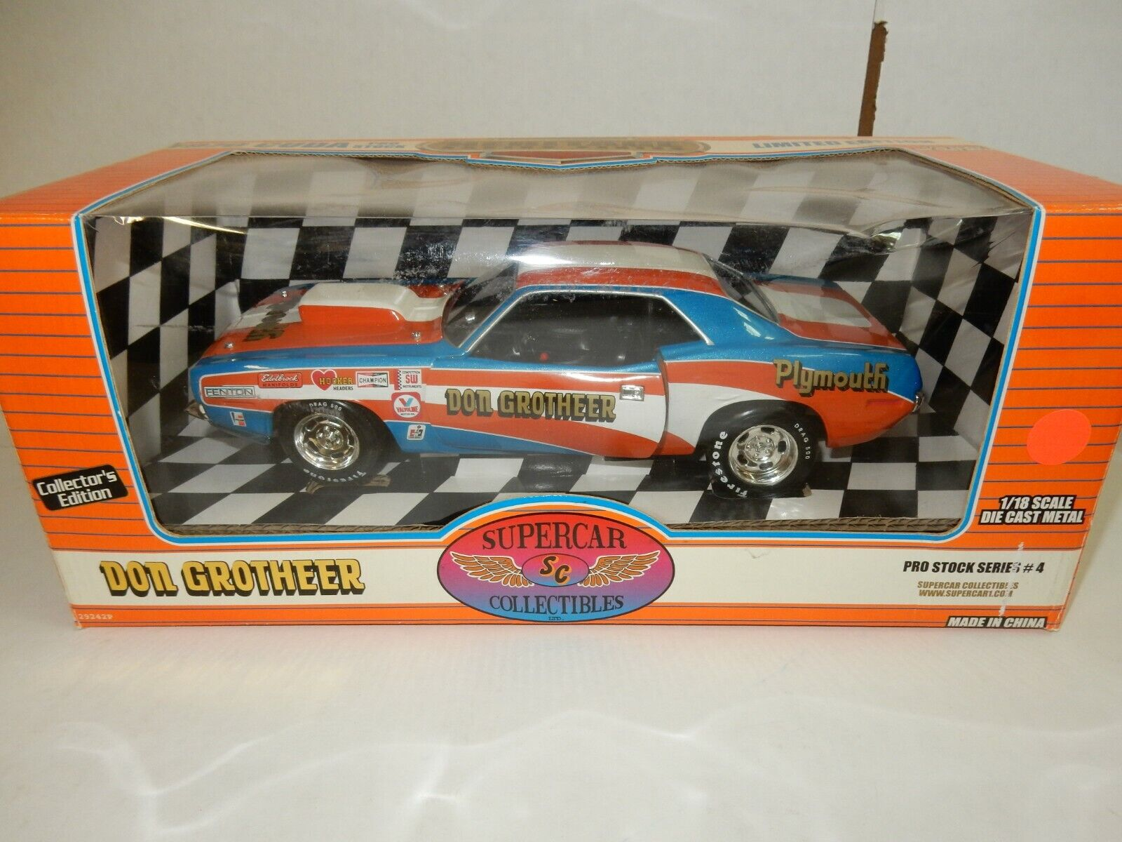 DON GROTHEER PLYMOUTH RACE CAR  SUPERCAR MODELS 1.18 DIECAST
