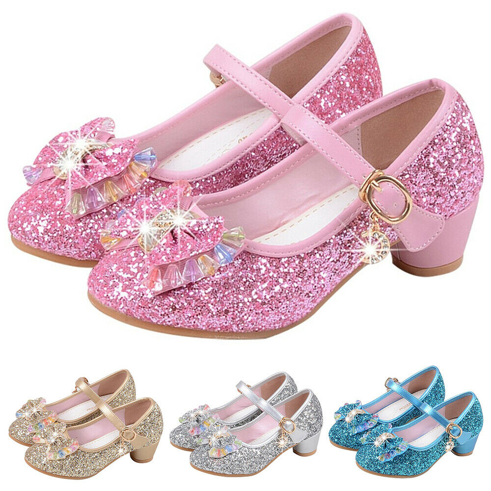 Disney Girls Princess Pink Glitter Flat