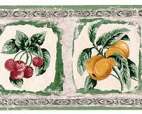 Rustic Drawn Printed Kitchen Fruit Image White Green Grey Wallpaper Wall Border