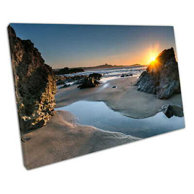 Beautiful Ocean sunset Little Fistral Beach Newquay Ready to Hang Canvas X1310