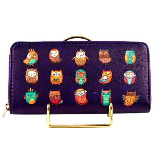Cute Owls Owl Print Purple Vinyl Clutch Wallet New