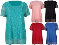Womens Floral Lace Panel Short Sleeve Ladies Scoop Neck T-Shirt Top Plus Size