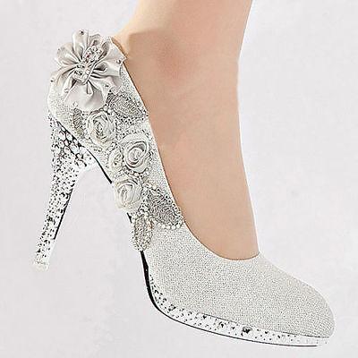 Wedding Shoes - Bride / Bridal / Bridesmaid / Prom /  Shoes - White - Size 5 UK