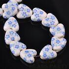 10pcs 14mm Heart Geramic Loose Spacer Beads Jewerly Making Light Blue Spring