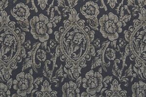 Regal-Crests-Lurex-Jacquard-Dress-Fabric-Material-Smokey-Blue-Beige-Gold