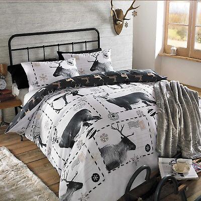 Christmas Quilt Duvet Cover Bedding Set Reindeer Stag Xmas Black White Santa NEW