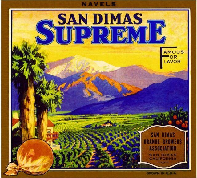 San Dimas Los Angeles County Supreme Orange Citrus Fruit Crate Label Art Print