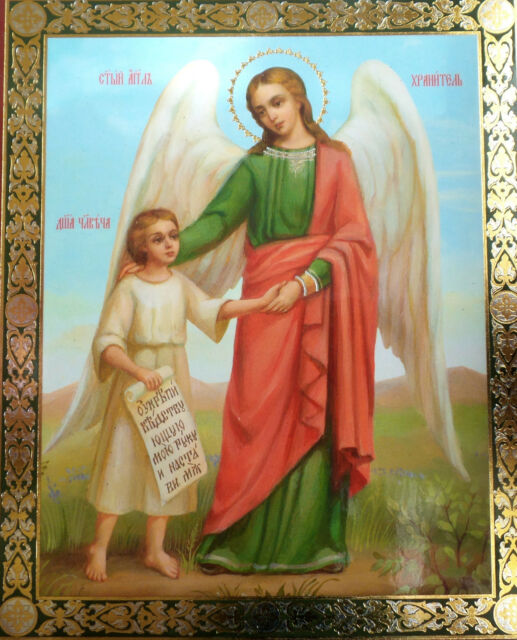 Christian Icon of Guardian Angel Commending the Soul of an Infant