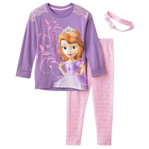 6 Retail $50 Disney Sofia the First Tunic Leggings /& Headband Set Size  4-5