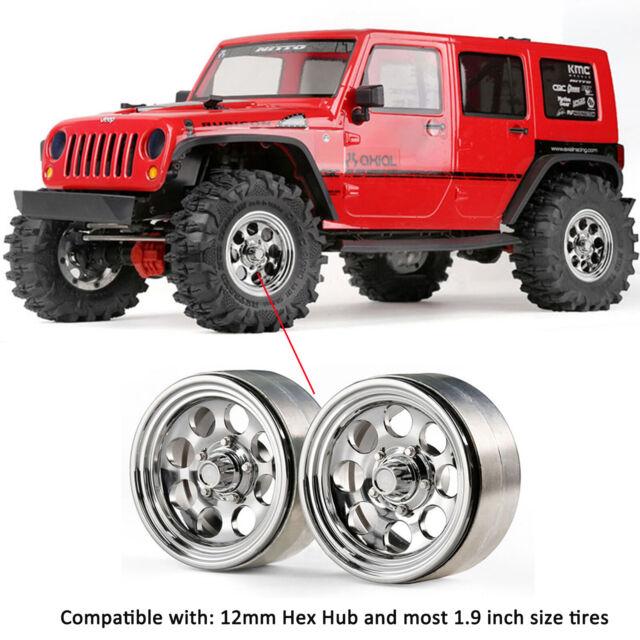 "2pcs GRC 1.9"" Aluminum Chrome Beadlock Wheels G08 Part for Jeep SCX10 TRX4 90046"