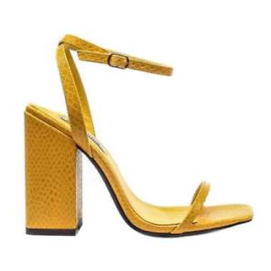 71b9e97124 Cape Robbin LORIEN Yellow Faux Snake Embossed Open Toe Ankle Strap ...