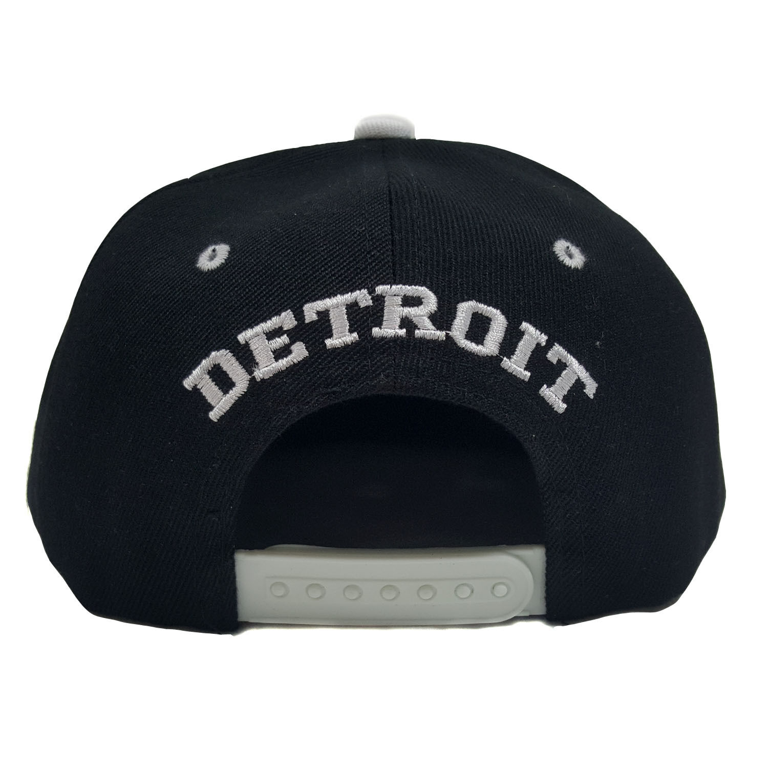 DETROIT 3D EMBROIDERED WHITE BLACK/WHITE FLAT BILL TWO TONE BLACK/WHITE WHITE SNAPBACK CAP f91f71