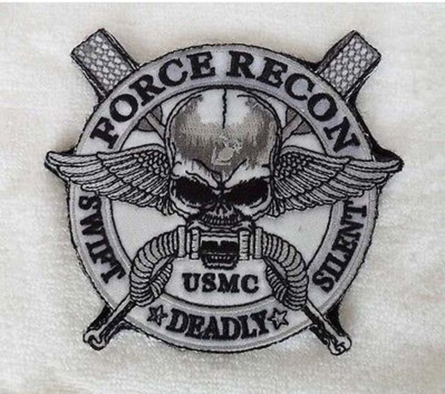 "FORCE RECON .USMC MILITARY MARINE ""SWIFT ""DEADLY"" SILENT ""Skull   Patch  sh +154"