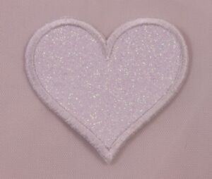 Embroidered-White-Glitter-Sparkle-Heart-2-034-Love-Jacket-Applique-Patch-Iron-On