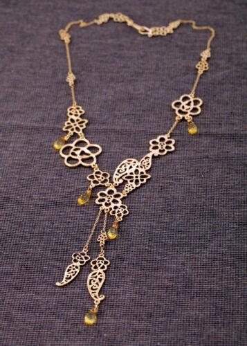 Collier Sautoir Creux Fleur Doré Retro Moderne Original Soirée Mariage XXL 1