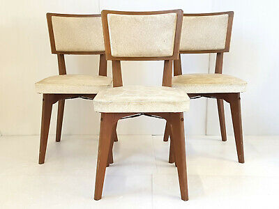 Suite Of 3 Chairs Vintage Wood & Skai 1950 Vintage 50s 50's Years 50 Reproduction Chairs