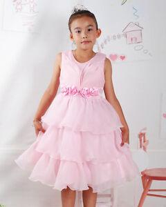 Detalles De Vestido Niña Dama De Honor Flores Fiesta Rosa Blanco 2 3 4 5 6 Años