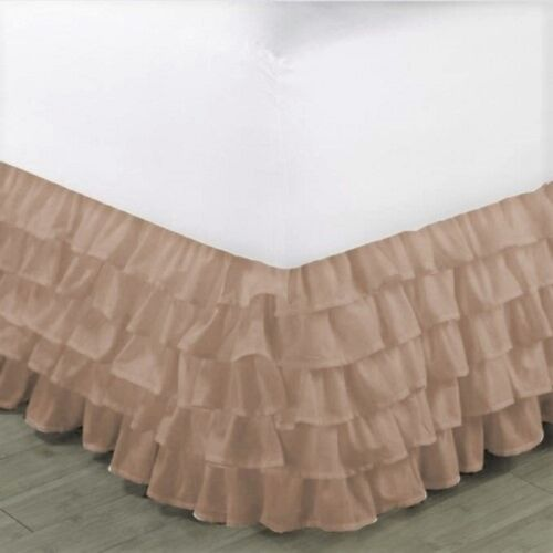 """1 GYPSY SOLID MULTI RUFFLE DRESSING BED SKIRT WITH PLATFORM 20/"""" INCH DROP"""