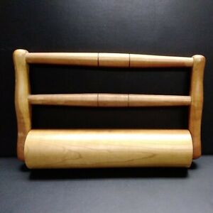 """Antique Wooden Double Handled Rolling Pin 11"""" Roller"""