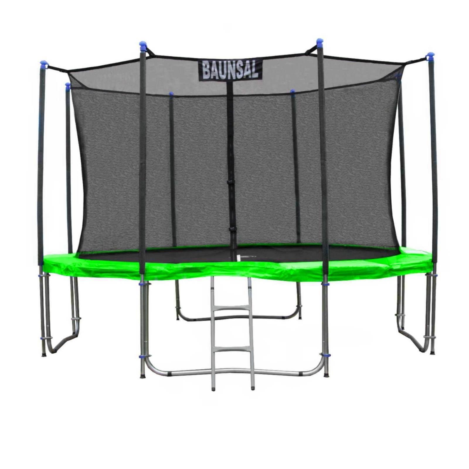 Gartentrampolin Trampolin in 305 mit bis 310 cm hellgrün mit 305 Netz innen und Leiter 2c2356
