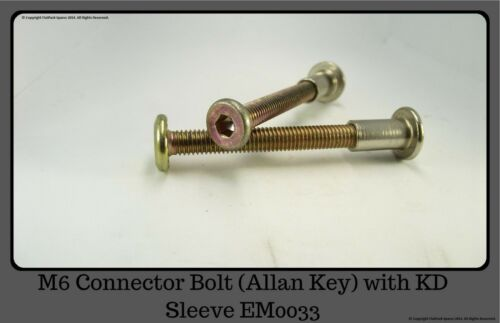 with KD Sleeve Flat Pack Fitting KD EM0033 Allan Key Head M6 Connector Bolt