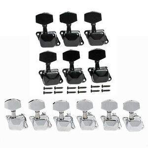 2set semiclosed electric guitar tuning pegs machine heads tuner key black chrome 634458300858 ebay. Black Bedroom Furniture Sets. Home Design Ideas