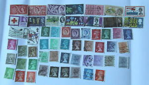 56-franked-GB-stamps-pre-decimal-and-decimal-for-beginner-stamp-collector